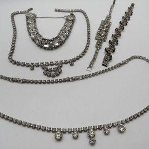 Vintage Rhinestone/Crystal Jewelry Silvertone Lot
